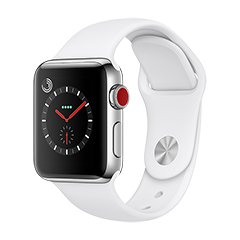 SmarTone Online Store Apple Watch Series 3 (38 毫 米 )(GPS + Cellular) 不 鏽 鋼 錶 殼 配 淺 白 色 運 動 錶 帶