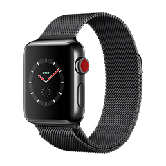 SmarTone Online Store Apple Watch Series 3 (38mm)(GPS + Cellular) Space Black Stainless Steel Case with Space Black Milanese Loop