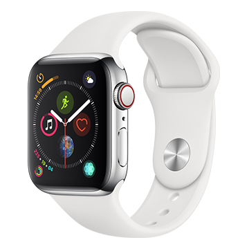 SmarTone Online Store Apple Watch Series 4 (40mm)(GPS + Cellular) Stainless Steel Case with White Sport Band