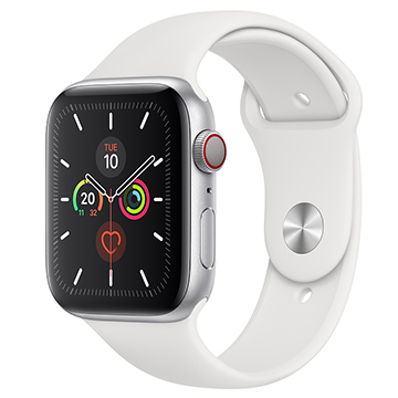 SmarTone Online Store Apple Watch Series 5 (GPS + Cellular) (44mm) Silver Aluminium Case with White Sport Band