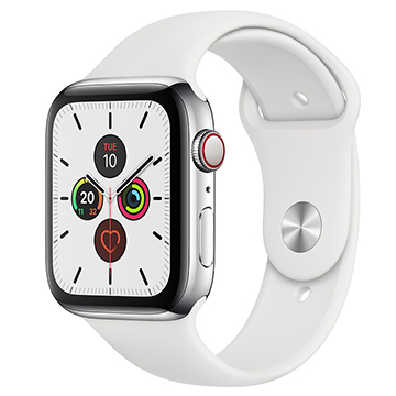 SmarTone Online Store Apple Watch Series 5 (GPS + Cellular) (44mm) Stainless Steel Case with White Sport Band