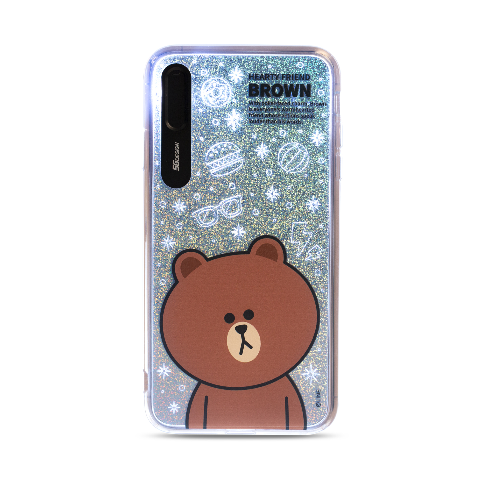 Line Friends Glitter Case for iPhone XS Max (Brown)