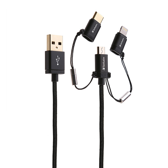 SmarTone Online Store Verbatim 120cm Sync & Charge 3 In 1 Lighting Type C And Micro Usb Cable