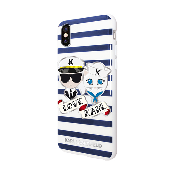 SmarTone Online Store KARL LAGERFELD Karl Sailor Stripes Hard Case for iPhone - 5.8 Inch Screen