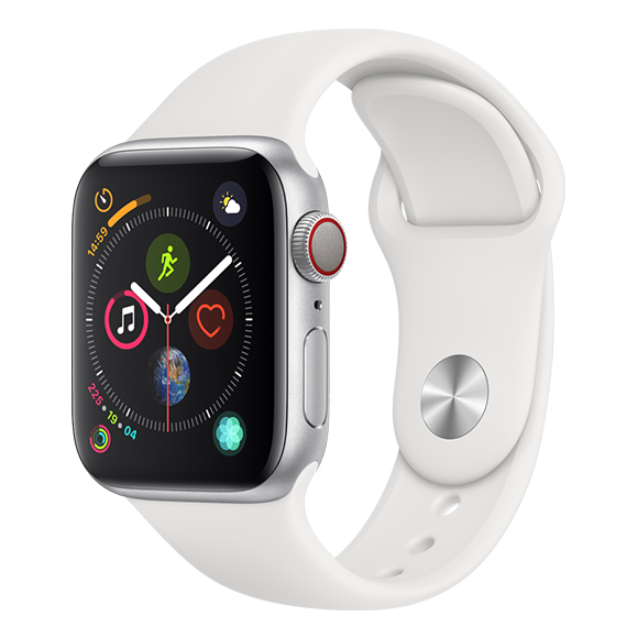 SmarTone Online Store Apple Watch Series 4 (40mm)(GPS + Cellular) Silver Aluminum Case with White Sport Band