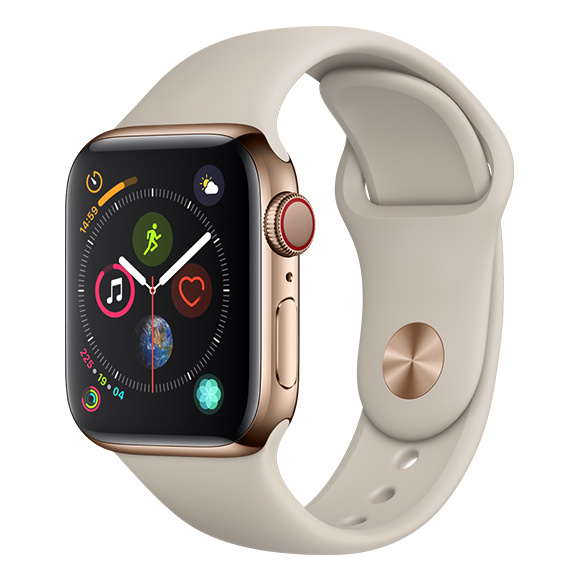 SmarTone Online Store Apple Watch Series 4 (40mm)(GPS + Cellular) Gold Stainless Steel Case with Stone Sport Band