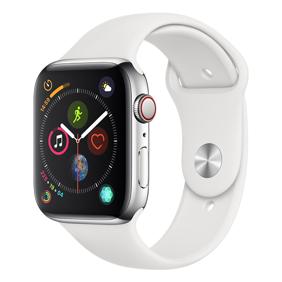 SmarTone Online Store Apple Watch Series 4 (44mm)(GPS + Cellular) Stainless Steel Case with White Sport Band