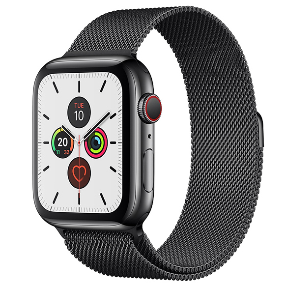 SmarTone Online Store Apple Watch Series 5 (GPS + Cellular) (44mm) Black Stainless Steel Case with Black Milanese Loop